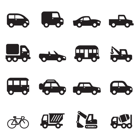 mini bike: Silhouette car icons set