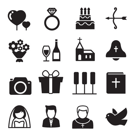 Silhouette Icons Wedding Bride And Groom Love Celebration