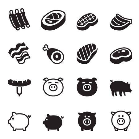 shop tender: Pig  pork icons set Vector illustration Illustration
