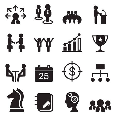 presentation people: Business management icons set