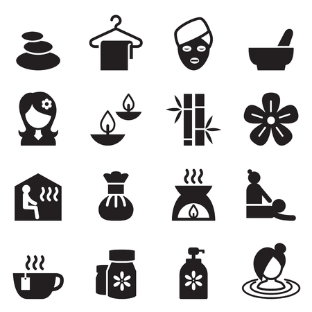 Spa, Beauty, Healthy Massage icons set 2 Vector illustration
