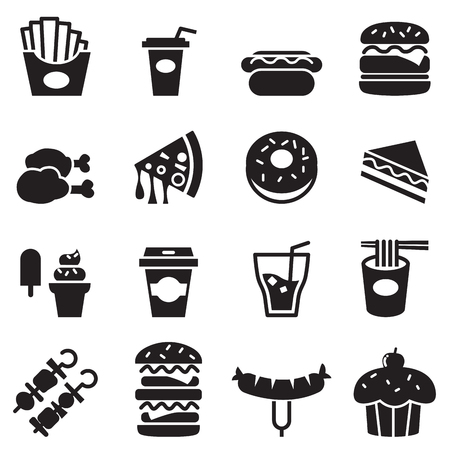 Fast food icons set Çizim