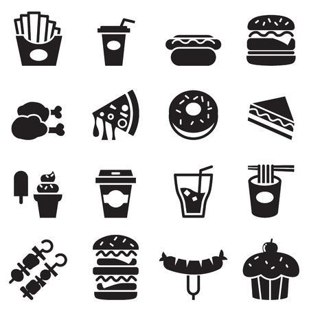 logo de comida: Iconos de los alimentos de preparación rápida Vectores