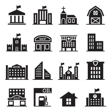 Landmark building icons set Vector illustration