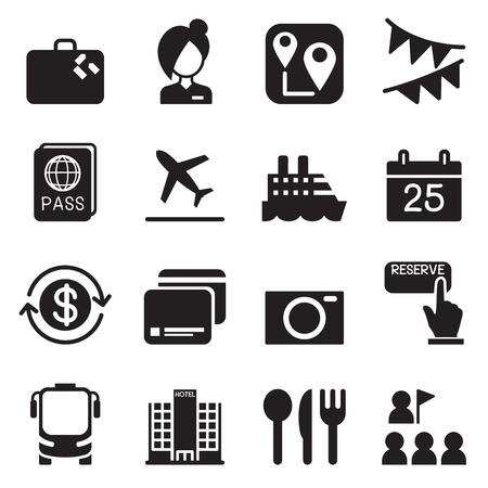tourist guide: Tourism & Tourist icons set Vector illustration