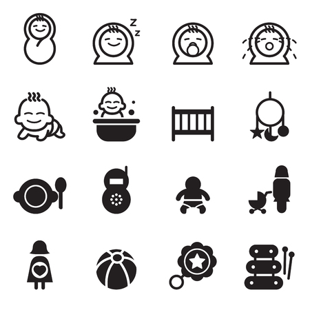 baby crib: Basic Baby icon set