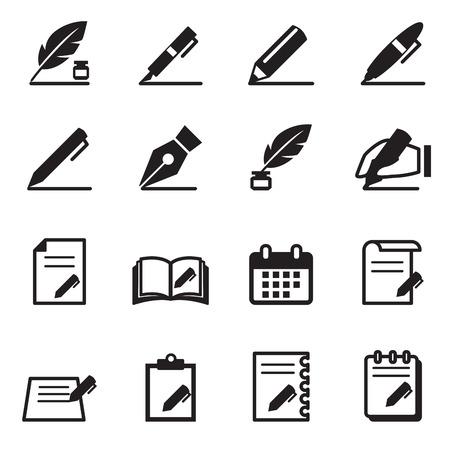 article writing: Writing icons set Vector illustration Illustration