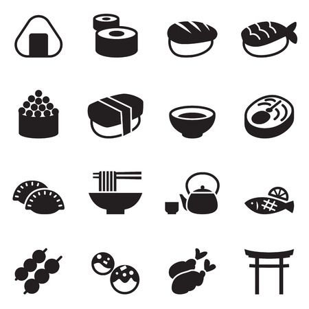 food fish: Basic Japanese food icons set