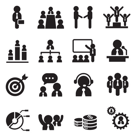 staff meeting: Business team  management icons set