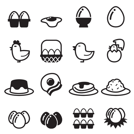 eggs in basket: Egg icons set vector