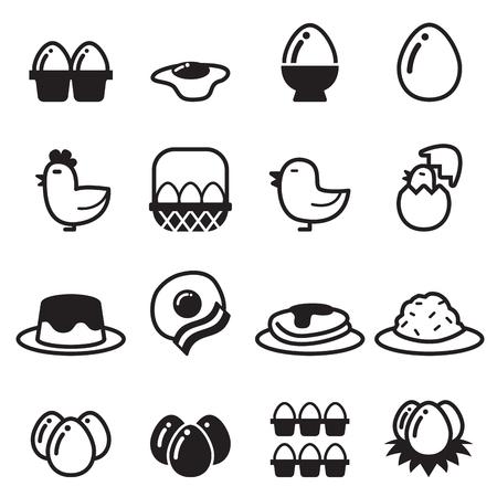 huevos revueltos: iconos conjunto de vectores de huevo