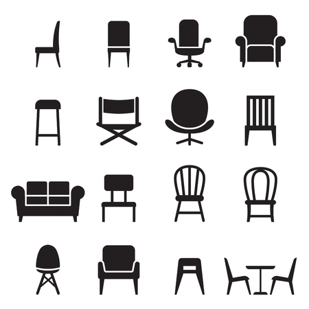 easy chair: Chair  Seating icons set Vector illustration