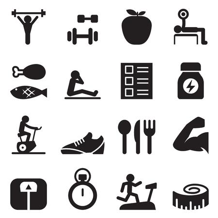 manzana: healthy  exercise icons set