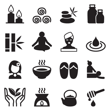 alternative therapy: Spa  alternative therapy icons set Illustration