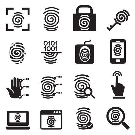 dedo: Finger iconos Sistema de seguridad de impresión establece la ilustración vectorial