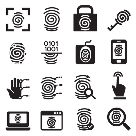 fingers: Finger print Security System icons set Vector illustration Illustration