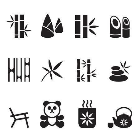 chinese bamboo: Bamboo icons set Vector