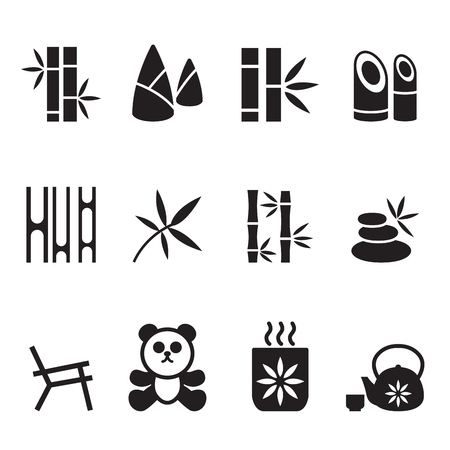 Bamboo icons set Vector