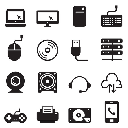 lcd monitor printer: Computer and Computer Accessories Icons set Vector illustration