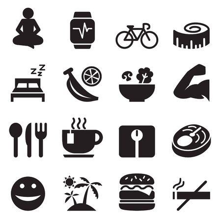Gesunde Icons Set Vektor-Illustration