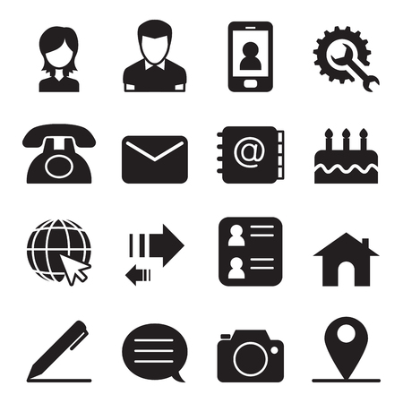 phone number: Contact icons set Vector illustration