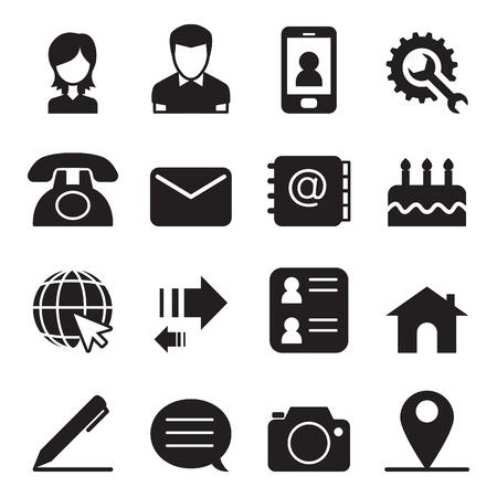 Skontaktuj ikony zestaw ilustracji wektorowych Ilustracje wektorowe