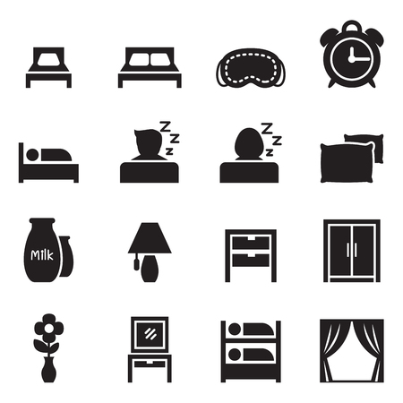 home furniture: Bedroom   Accessories icons set