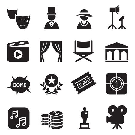 Filmy ikony zestaw ilustracji wektorowych