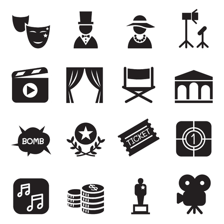 Movies icons set Vector illustration Vectores
