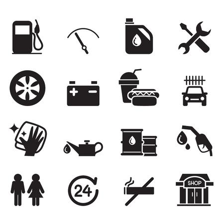 Gas station icon set Illustration