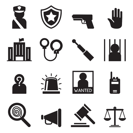 alleged: Police icons set Silhouette