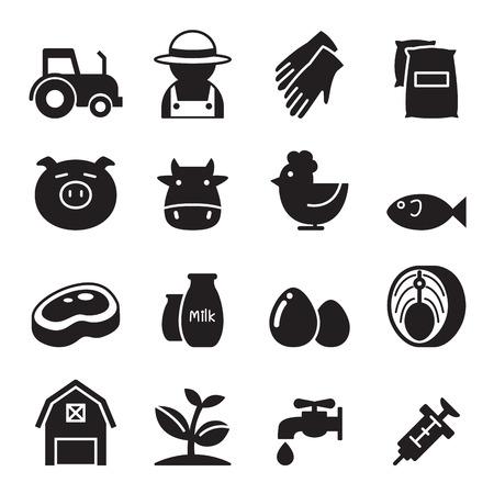 water mill: Farm icons set Illustration