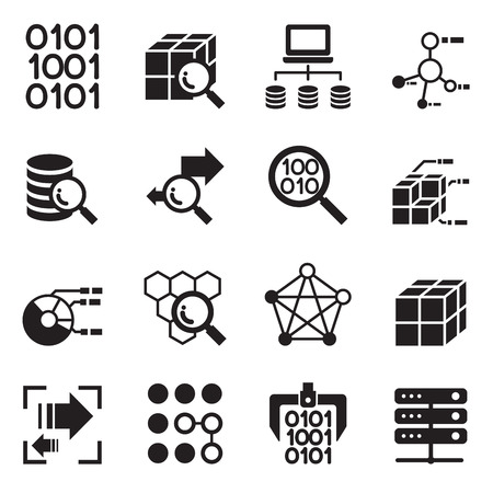 data collection: Data mining Technology , Data Transfer , Data warehouse analysis idea concept icon set Illustration