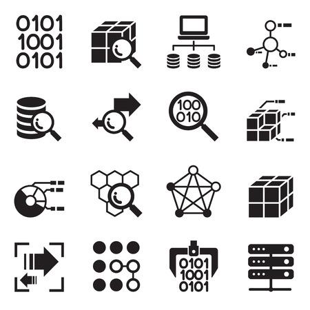 Technologie minière de données, transfert de données, de l'entrepôt de données d'analyse idée notion icon set Vecteurs