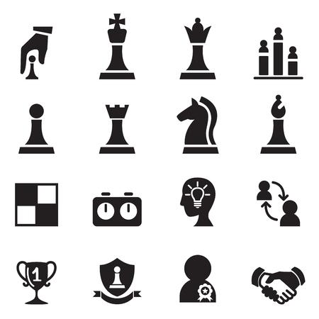 sport mats: Chess icons set Vector illustration. Illustration
