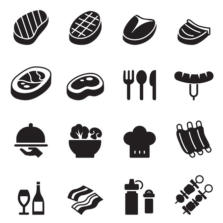 t bone steak: Basic Steak icons set