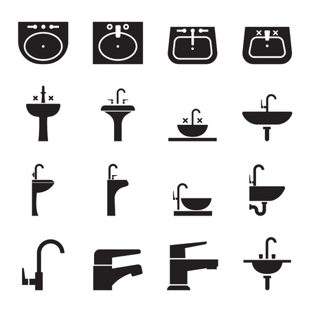 wash basin: Silhouette sink, Wash basin, Faucet icon set