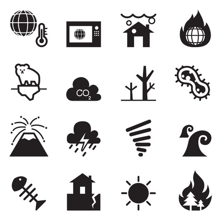 global warming , Disaster , catastrophe icons set Collection Vector illustration