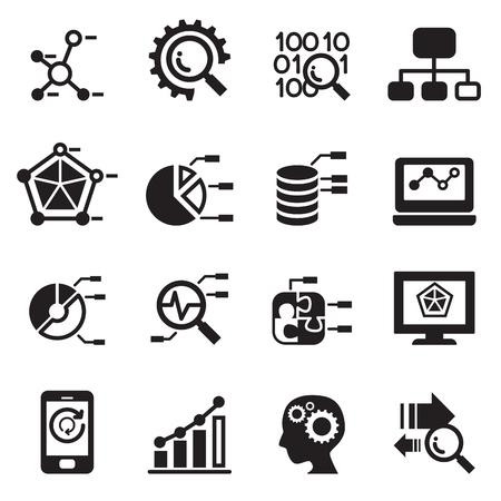 Data mining, Database, Data analysis icons set Stock Illustratie
