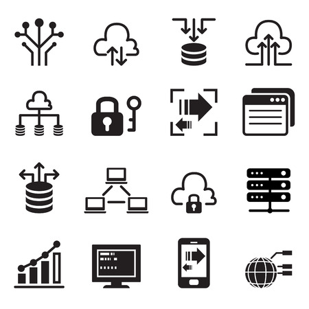 cloud computing technologies: Data Technology icons set