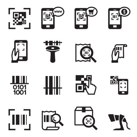reader: Check code , Barcode, QR code Reader Icons set Vector illustration Illustration