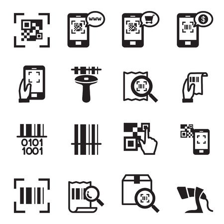 Check code , Barcode, QR code Reader Icons set Vector illustration Vettoriali