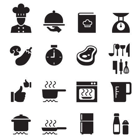 restuarant: Silhouette Cooking, Restuarant icon set Illustration