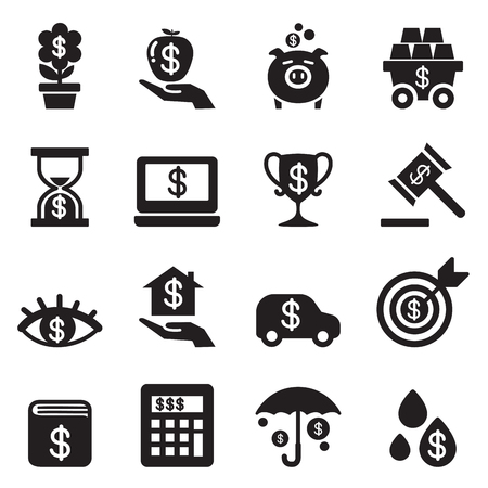 Investment, Bonus, Financial business icon set