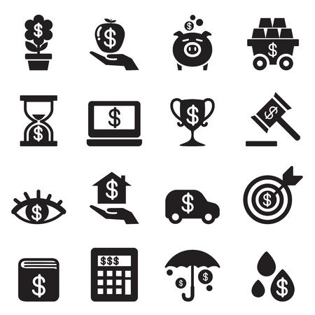 Investment, Bonus, Financial business icon set