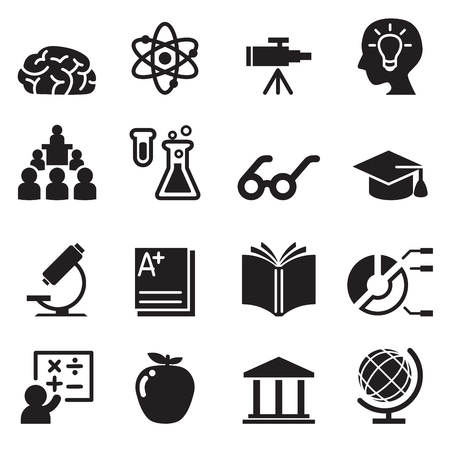 Learning, Smart ,genius icons set Vettoriali