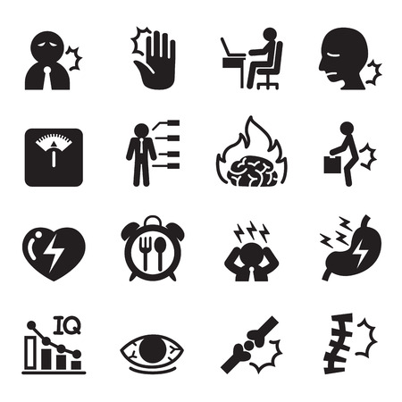 emotional pain: office syndrome icons set