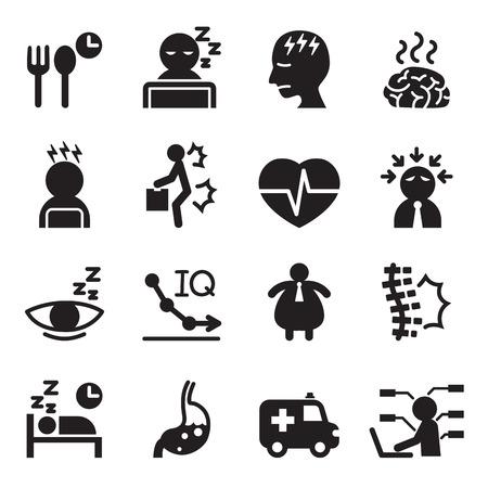ansiedad: Síndrome de oficina silueta iconos conjunto