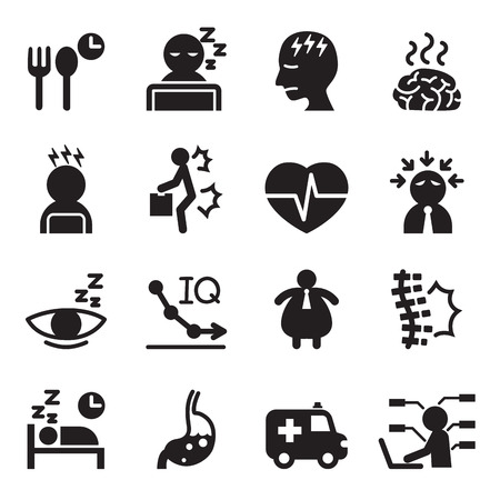 shoulder problem: Silhouette office syndrome icons set