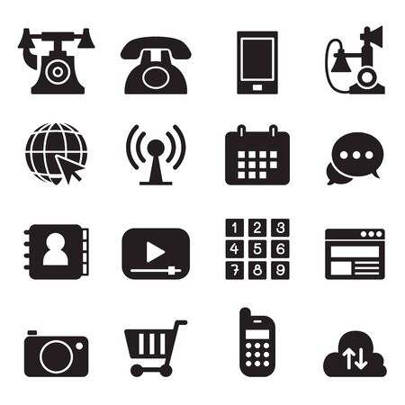 cell phone transmitter tower: Basic Phone  application Icons Set